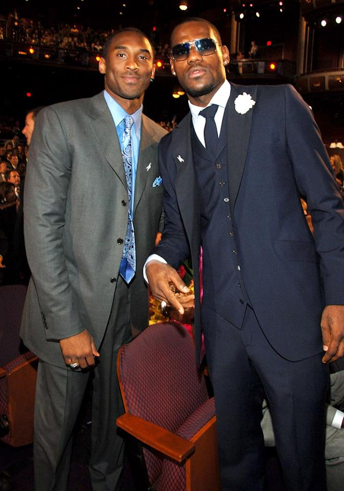 """Kobe Bryant and LeBron James leave their rivalry on the basketball court. Kevin Mazur/<a href=""""http://www.wireimage.com"""" target=""""new"""">WireImage.com</a> - July 12, 2006"""