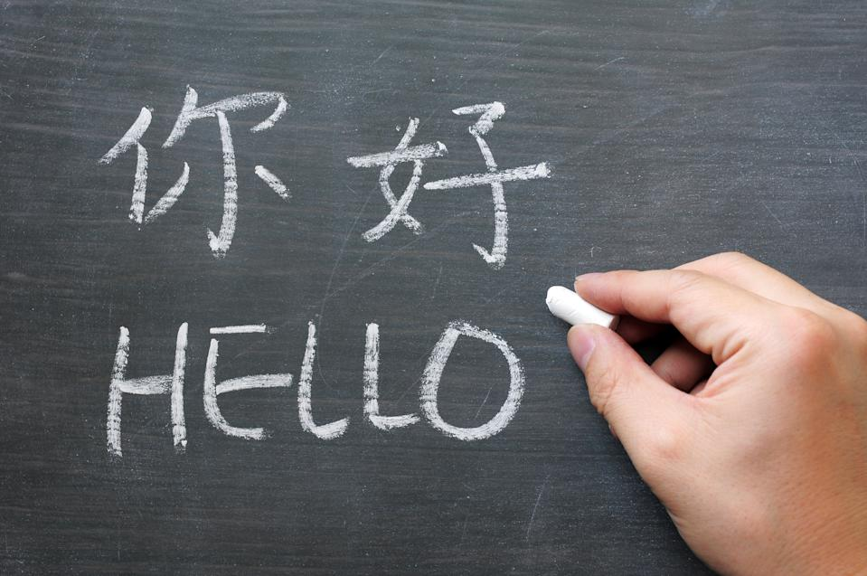 """""""Hello - word written on a smudged blackboard with a Chinese tranlation,with a hand holding chalk"""""""