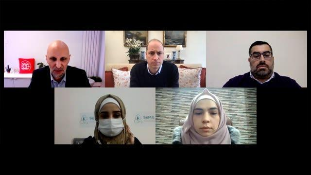 (Top left to right) Disasters Emergency Committee (DEC) chief executive Saleh Saeed, the Duke of Cambridge and Fadi Hallisso, (bottom left to right) anaesthetist Kawther Mohamad Ali and Shahinaz Muamar