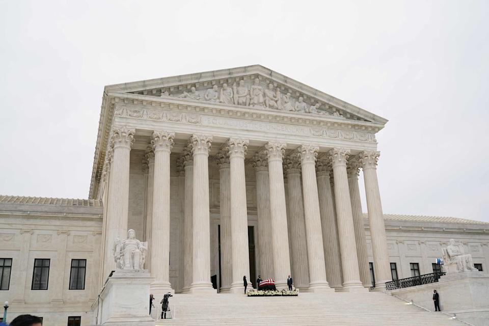 US Supreme Court justices denounce 2015 same sex marriage decision with statement on Monday  (AFP via Getty Images)