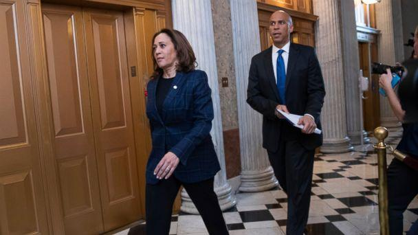PHOTO: Senate Judiciary Committee members Sen. Kamala Harris, D-Calif., left, and Sen. Cory Booker, D-N.J., arrive at the chamber for the final vote to confirm Supreme Court nominee Brett Kavanaugh, at the Capitol in Washington, Saturday, Oct. 6, 2018. (AP)