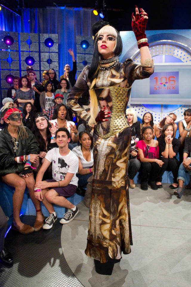 "Lady Gaga tapes an episode of ""106 and Park"" at BET Studios in New York, Monday, May 23, 2011."