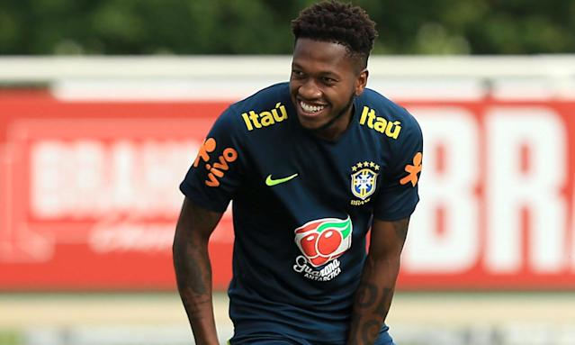 Fred, pictured here in training with Brazil, has joined Manchester United for £52m.