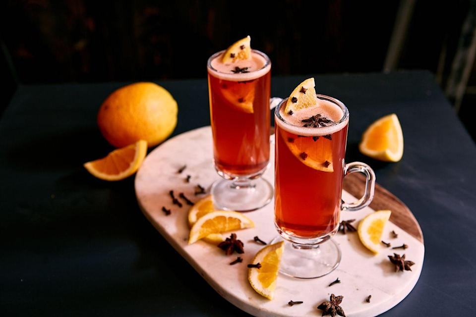 "<p>An award-winning bartender on the West Coast, Kate Bolton is the founder of Portland's Silver Julep, where her menu balances sensibility and playfulness. </p><p>""This recipe takes elements from a basic hot toddy and elevates them to the next level with a Negroni-like spin that's perfect for colder months,"" Bolton says. ""The maple butter incorporates a sweet yet savory element that plays off the maple undertones from the Russell's Reserve bourbon while the splash of vanilla extract and clove-studded orange wheel add surprising and exciting finishes.""</p><p><strong>Kate's Hot Buttered Boulevardier</strong></p><p><strong>Ingredients:</strong></p><p>½ pound (2 sticks) unsalted butter </p><p>5 tablespoons Maple Syrup</p><p>½ teaspoon salt</p><p>1½ ounces Russell's Reserve 10-Year-Old Bourbon</p><p>¾ ounce Campari</p><p>¾ ounce Cinzano 1757 Vermouth </p><p>1 dash Vanilla Extract</p><p>3 ounces boiling water</p><p><strong>Directions:</strong><br></p><p><em>To make the maple butter: </em>Using a robot coup or Vitamix whip first three ingredients until smooth.</p><p><em>To make the cocktail: </em>In a footed glass or mug add Russell's Reserve, Campari, sweet vermouth, maple butter, and vanilla. Pour hot water on top and stir briskly until butter is dissolved and well-integrated. Garnish with a clover-studded half orange wheel and a star anise pod.</p>"