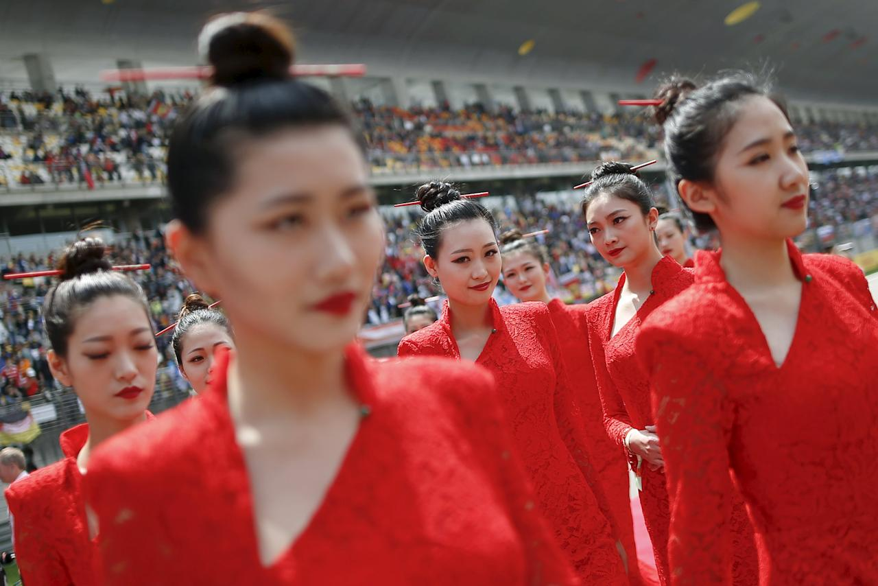 Formula One - Chinese F1 Grand Prix - Shanghai, China - 17/4/16 - Hostesses before the Chinese Grand Prix. REUTERS/Aly Song TPX IMAGES OF THE DAY