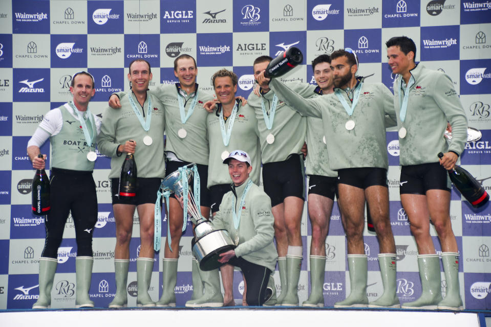 Cambridge University Boat Club rowers celebrate victory over Oxford University Boat Club in London on 7 April 2019. Photo: Alberto Pezzali/NurPhoto via Getty Images