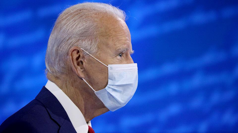 Joe Biden approaches his seat, ahead of an ABC Town Hall event at the National Constitution Center in Philadelphia, Pennsylvania on October 15, 2020.  (Tom Brenner/Reuters)