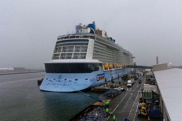 PHOTO: The cruise ship Anthem of the Seas is docked at the Cape Liberty Cruise Port in Bayonne, New Jersey, on Feb. 7, 2020. Passengers were screened, as a precaution, for the novel coronavirus. (Kevin Hagen/AP)