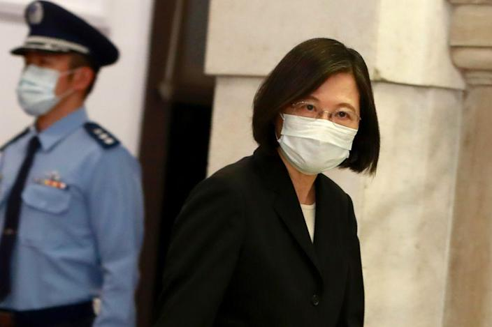 """Taiwan President Tsai Ing-wen speaks at the presidential office following a surge of domestic COVID-19 cases in Taipei, Taiwan, on 13 May 2021.<span class=""""copyright"""">Ceng Shou Yi–NurPhoto/Getty Images</span>"""