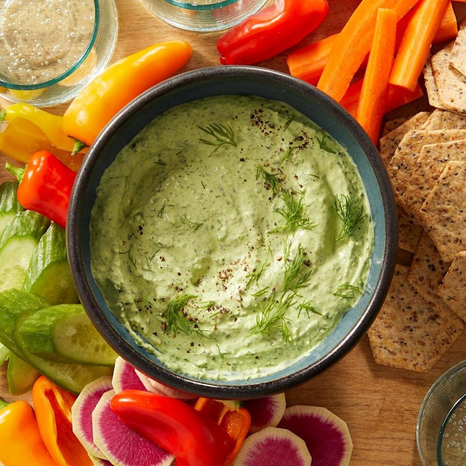 <p>Try this spinach dip, spiked with fresh dill and briny feta cheese, as a sandwich spread--or serve alongside crackers or crudité.</p>