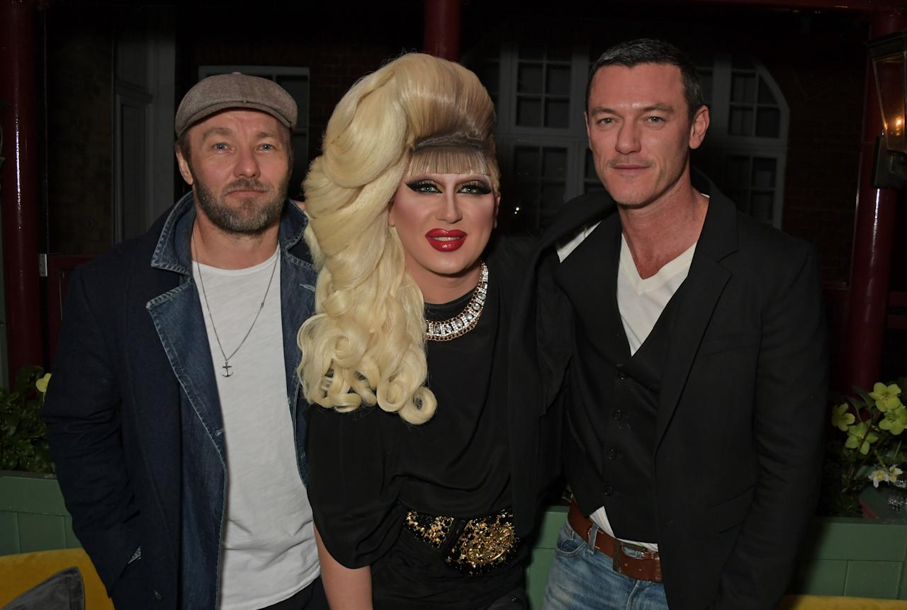 Joel Edgerton, Jodie Harsh and Luke Evans attend the Victoria Beckham x YouTube Fashion & Beauty after party at London Fashion Week hosted by Derek Blasberg & David Beckham at Mark's Club on February 17, 2019 in London, England.