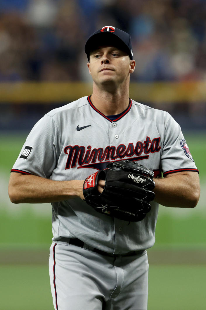 Minnesota Twins starting pitcher Andrew Albers reacts after giving up a home run to the Tampa Bay Rays during the third inning of a baseball game on Saturday, Sept. 4, 2021, in St. Petersburg, Fla. (AP Photo/Scott Audette)