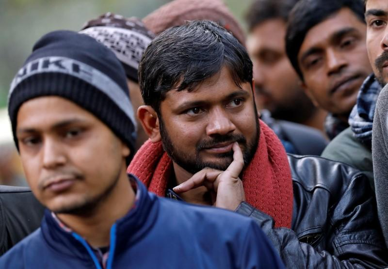 India's left-wing youth leader Kanhaiya Kumar gestures as he attends a protest against the attacks on the students of Jawaharlal Nehru University, in New Delhi