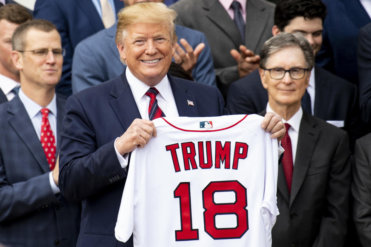 Donald Trump is going to the World Series if the Washington Nationals and Houston Astros need a Game 5 on Sunday. (Photo by Billie Weiss/Boston Red Sox/Getty Images)