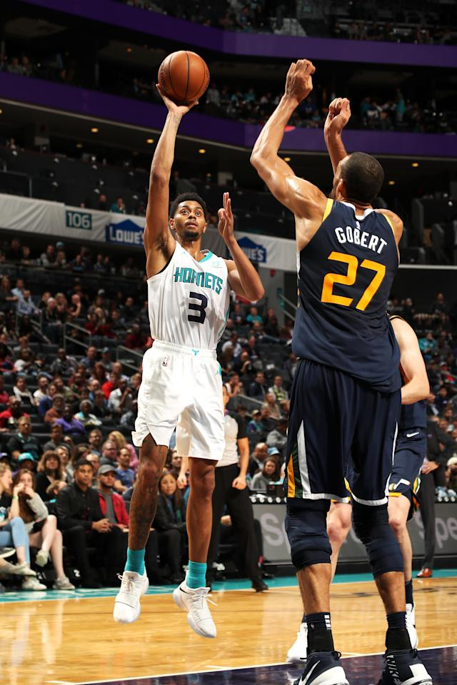 CHARLOTTE, NC - NOVEMBER 30: Jeremy Lamb #3 of the Charlotte Hornets shoots the ball against the Utah Jazz on November 30, 2018 at Spectrum Center in Charlotte, North Carolina. (Photo by Kent Smith/NBAE via Getty Images)
