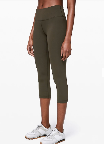 "Wunder Under Crop Mid-Rise 21"" Full-On Luxtreme in dark olive"
