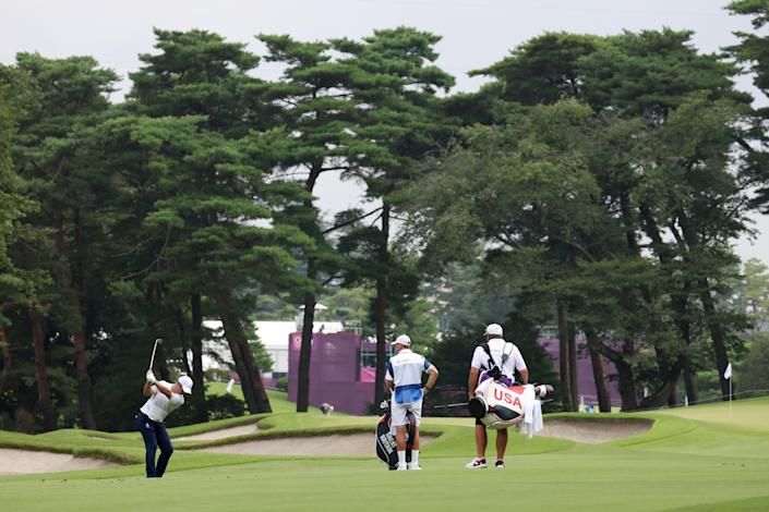 Paul Casey on the second fairway, en route to an opening-round 67 (Getty)