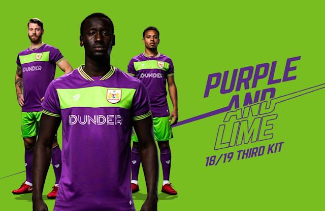 <p>When a kit's colours are lime and purple, you know it is going to be garish. A mainly purple kit with a bright green slash across the chest is horrible. (BCFC's website) </p>