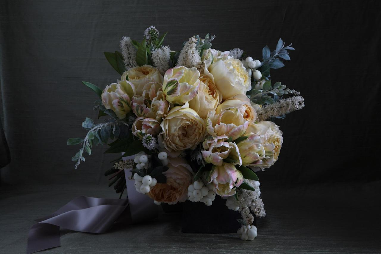 "<p>""This is an early winter bouquet with snowberries, antique cabbage roses and the first Dutch tulips of the season. I love mixing the smooth, glossy snowberries that look like miniature snowballs with various fuzzy herbal plant life and foliage."" -<em>Lewis Paul Miller, founder of </em><a href=""http://lewismillerdesign.com"" target=""_blank""><em>Lewis Miller Design</em></a></p>"