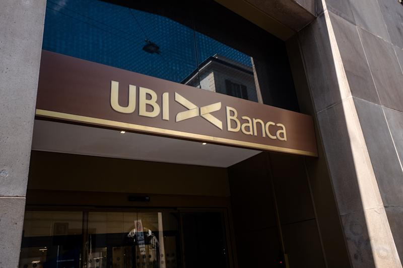 The logo of Ubi Banca placed in the headquarters of Brera. UBI Banca S.p.A. is an Italian banking group of cooperative origin, fourth in number of branches with a market share of 6.7% as at 31 December 2018, created on 1 April 2007 from the merger between Banche Popolari Unite and Banca Lombarda. (Photo by Mairo Cinquetti/NurPhoto via Getty Images) (Photo: NurPhoto via Getty Images)