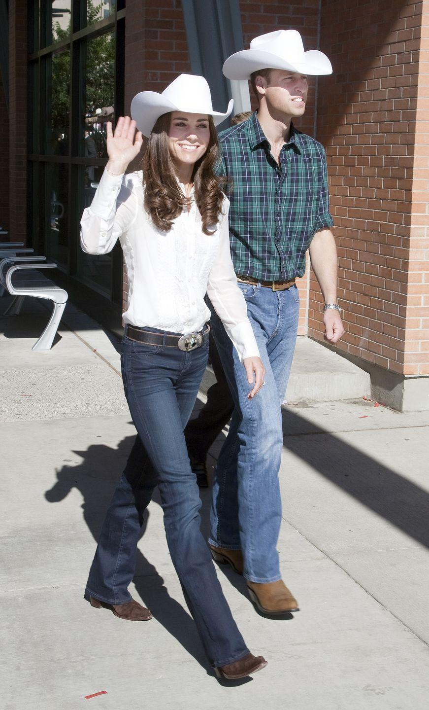 <p>Okay, yes, the cowboy look is totally unexpected (especially for these two) but also totally perfect in every way. The dark blue flare jeans! The white Oxford shirts! The boots! I mean, Will and Kate wore literal <em>cowboy hats</em> during their 2011 trip to Canada. I love it. </p>