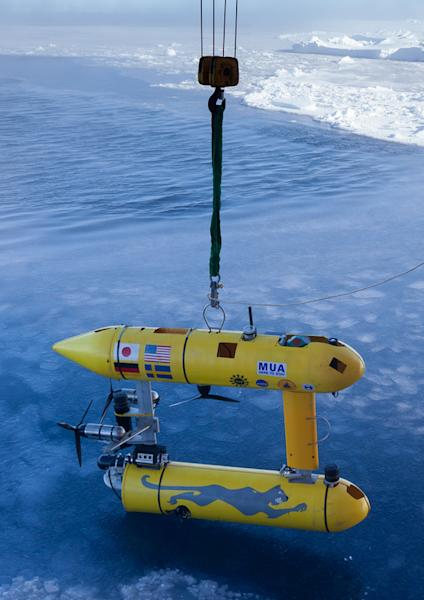 The robot submarine ready for launch from an icebreaker offshore Antarctica.