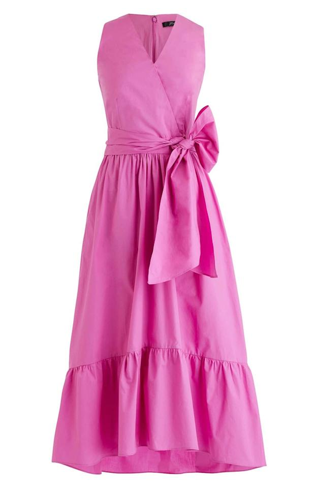 "I'm very into pink right now. $128, Nordstrom. <a rel=""nofollow"" href=""https://click.linksynergy.com/deeplink?id=lYYSEIC9SjY&mid=1237&u1=springbreakdresses2019&murl=https%3A%2F%2Fshop.nordstrom.com%2Fs%2Fj-crew-faux-wrap-cotton-poplin-dress%2F5284532%3Forigin%3Dcategory-personalizedsort%26breadcrumb%3DHome%252FWomen%252FClothing%252FDresses%26color%3Dvivid%2520fuschia"">Get it now!</a>"