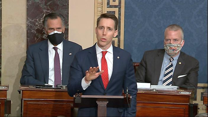<p>Josh Hawley objected to the certification of the election results on January 6</p> (AP)