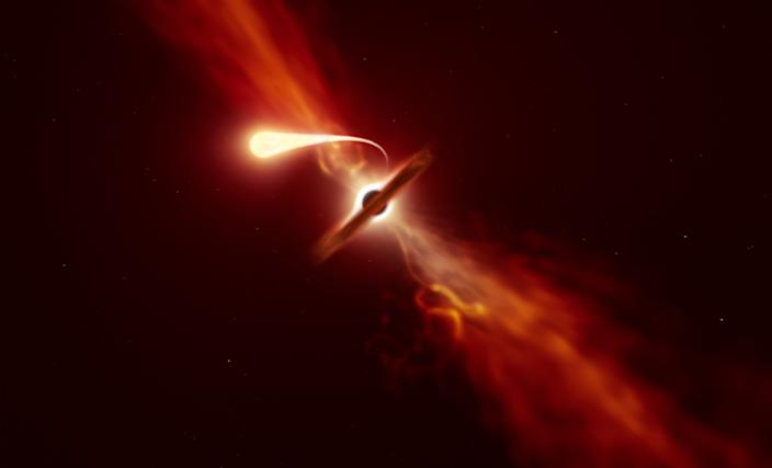 """Researchers found that when a star is """"spaghettified"""" a blast of material is launched outwards (ESO)"""