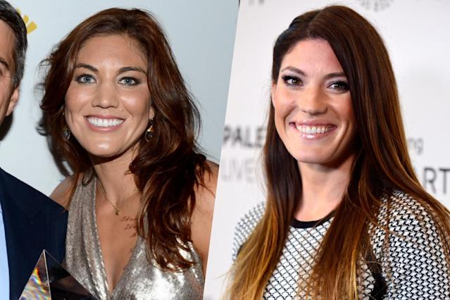 <p>American soccer player Hope Solo (left) and Dexter actress Jennifer Carpenter (right). </p>