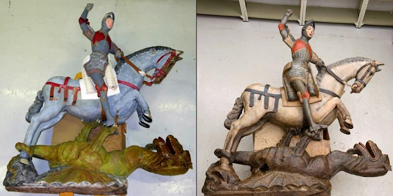 Before and after: the Saint George sculpture has been restored to its orginal state in the San Miguel church in Estella, a town in Spain's northern Navarra region (AFP Photo/Handout)