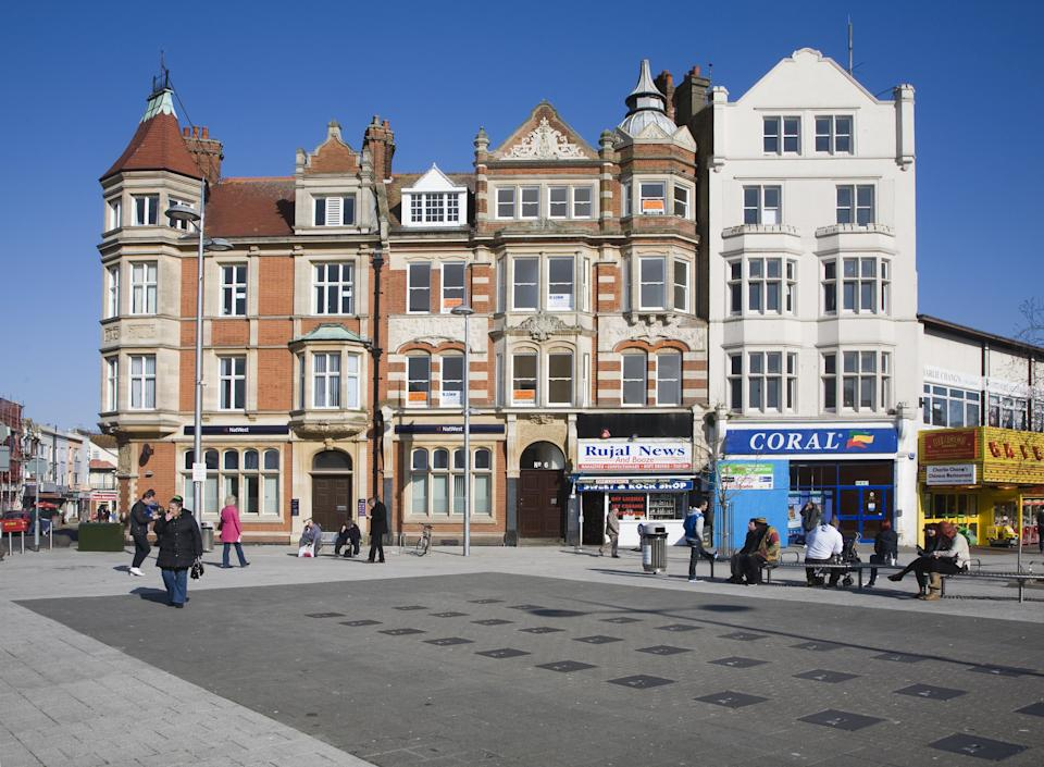 Historic buildings in the town center of Clacton on Sea, Essex, England. (Photo by: Universal Images Group via Getty Images)