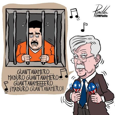A cartoon caricature of John Bolton, U.S. President Donald Trump's national security adviser, is seen in this image provided by Venezuelan cartoonist Fernando Pinilla that now hangs framed on the wall of Bolton's West Wing office at the White House in Washington, U.S. February 27, 2019.  Courtesy Fernando Pinilla/Handout via REUTERS