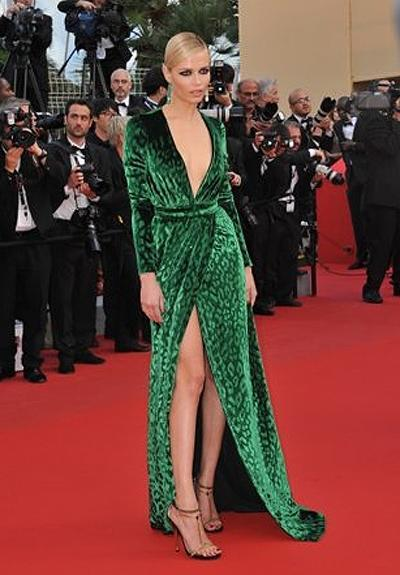 <p><b>Natasha Poly</b></p> <p>Natasha Poly wore a dress worthy of Cannes' immense red carpet. The Gucci-clad model looked ravishing in what was arguably one of the best looks on the label's fall/winter runway: a leopard print emerald green dress with a plunging neckline and thigh high slit. Sexy was most definitely an understatement.</p>