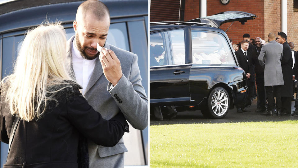 Family and friends, pictured here grieving at Dalian Atkinson's funeral.