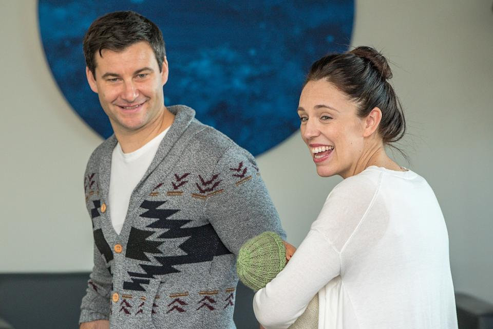 Prime Minister Jacinda Ardern (pictured with daughter) and her partner Clarke Gayford were initially turned away from a restaurant on Saturday. Source: AAP
