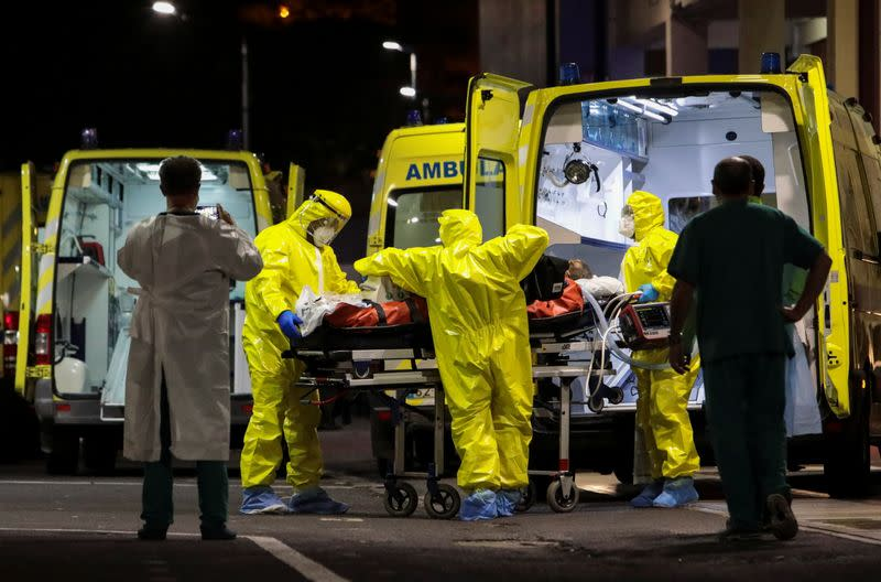 A COVID-19 patient transferred from Lisbon arrives at Nelio Mendonca Hospital in Funchal, amid the coronavirus disease (COVID-19) pandemic, in Funchal