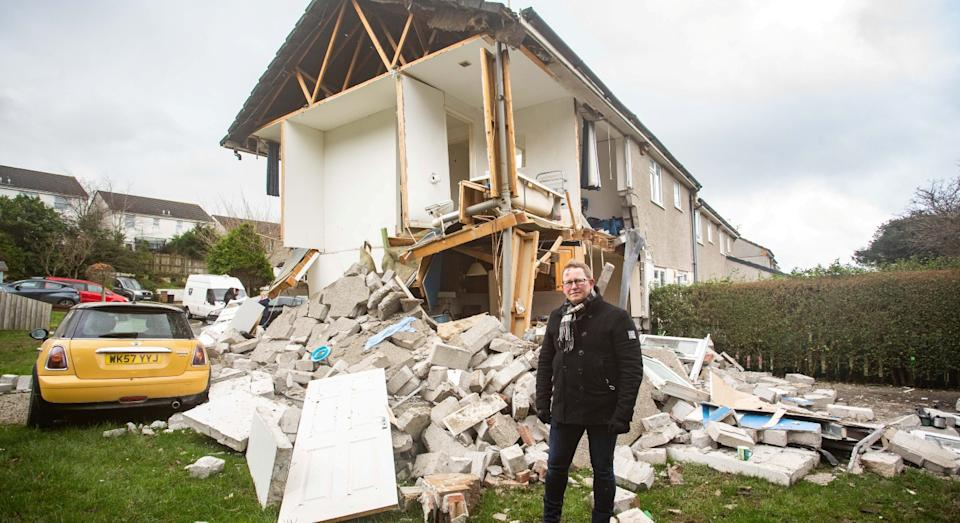 Darren Cornish was investigating a gas leak with his mum when the kitchen exploded (SWNS)