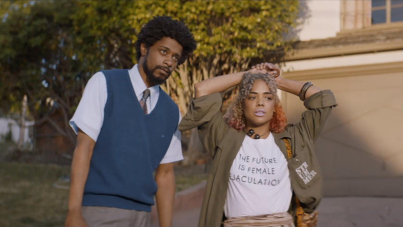 Lakeith Stanfield and Tessa Thompson in 'Sorry to Bother You'. (Credit: Universal)