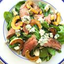 """<p>Beef up your salad—l<span class=""""redactor-invisible-space"""">iterally.</span></p><p>Get the recipe from <a href=""""https://www.delish.com/cooking/recipe-ideas/recipes/a44068/steak-salad-spinach-delicata-squash-blue-cheese-recipe/"""" rel=""""nofollow noopener"""" target=""""_blank"""" data-ylk=""""slk:Delish"""" class=""""link rapid-noclick-resp"""">Delish</a>. </p>"""