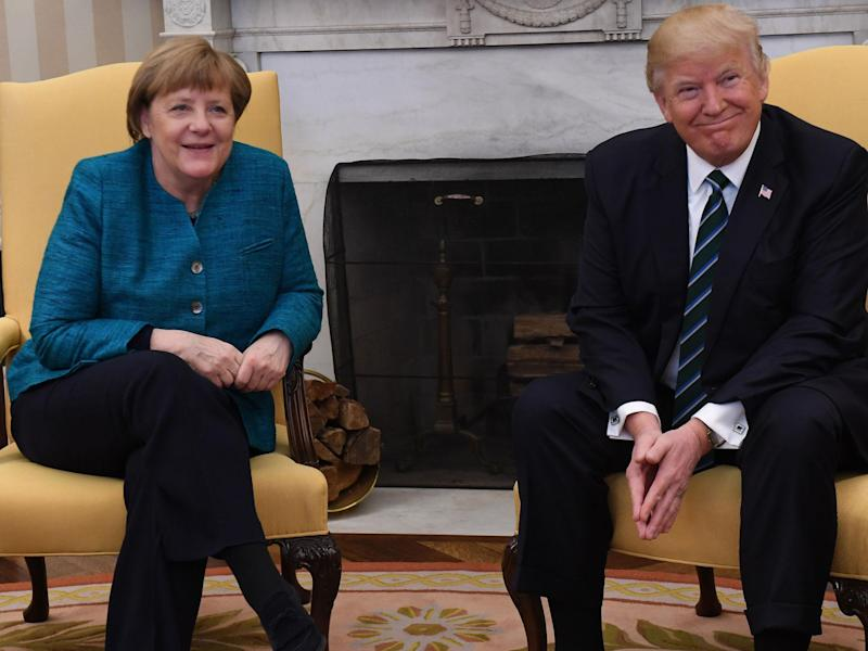 Mr Trump said: 'One of the best chemistries I had was with Merkel': Pat Benic-Pool/Getty Images