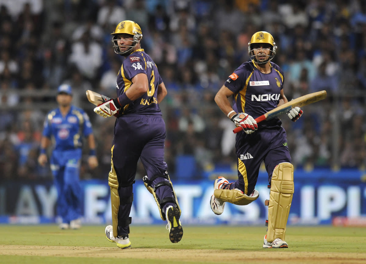 Jacques Kallis of Kolkata Knight Riders and Manvinder Bisla of Kolkata Knight Riders run between the wickets during match 53 of the Pepsi Indian Premier League ( IPL) 2013  between The Mumbai Indians and the Kolkata Knight Riders held at the Wankhede Stadium in Mumbai on the 7th May 2013 ..Photo by Pal Pillai-IPL-SPORTZPICS  ..Use of this image is subject to the terms and conditions as outlined by the BCCI. These terms can be found by following this link:..https://ec.yimg.com/ec?url=http%3a%2f%2fwww.sportzpics.co.za%2fimage%2fI0000SoRagM2cIEc&t=1490688407&sig=1q.LpjzB2ohP05OUEeJOPw--~C