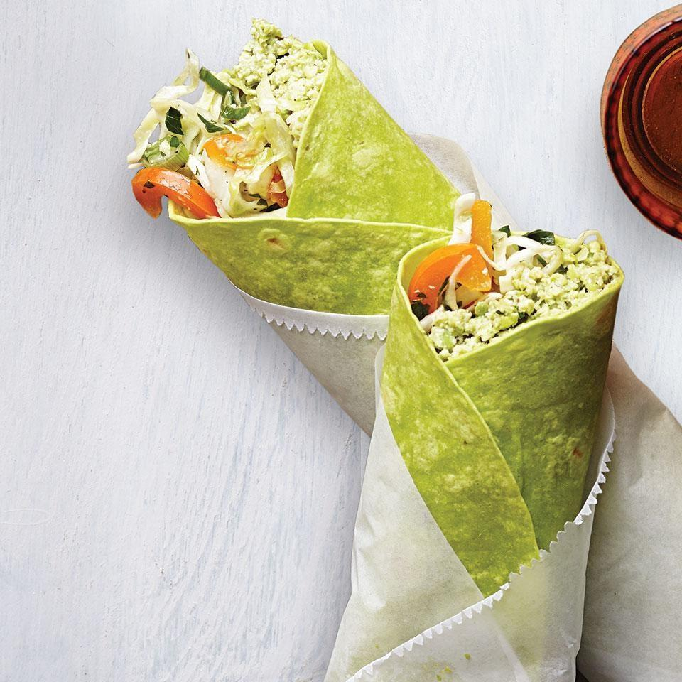"""<p>Made with protein-rich edamame instead of chickpeas, this easy hummus recipe is the perfect vegetarian filling for a grab-and-go wrap. Or double the recipe and use the hummus for a healthy snack with cut-up vegetables. <a href=""""https://www.eatingwell.com/recipe/251218/edamame-hummus-wrap/"""" rel=""""nofollow noopener"""" target=""""_blank"""" data-ylk=""""slk:View Recipe"""" class=""""link rapid-noclick-resp"""">View Recipe</a></p>"""