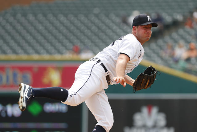 Detroit Tigers pitcher Jordan Zimmermann throws against the Chicago White Sox in the first inning of a baseball game in Detroit, Wednesday, Aug. 15, 2018. (AP Photo/Paul Sancya)