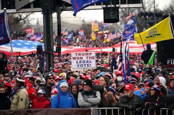 PHOTO: Supporters listen as US President Donald Trump speaks on The Ellipse outside of the White House, Jan. 6, 2021, in Washington, D.C. (Mandel Ngan/AFP via Getty Images)