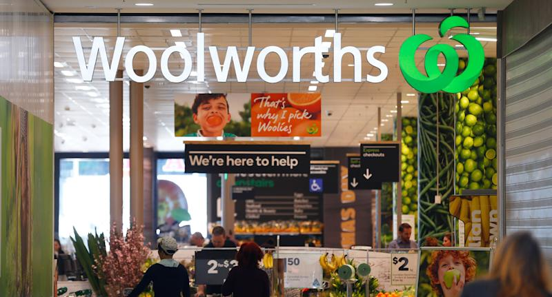 A Woolworths sign. A shopper said he found feathers still attached to his chicken meal.