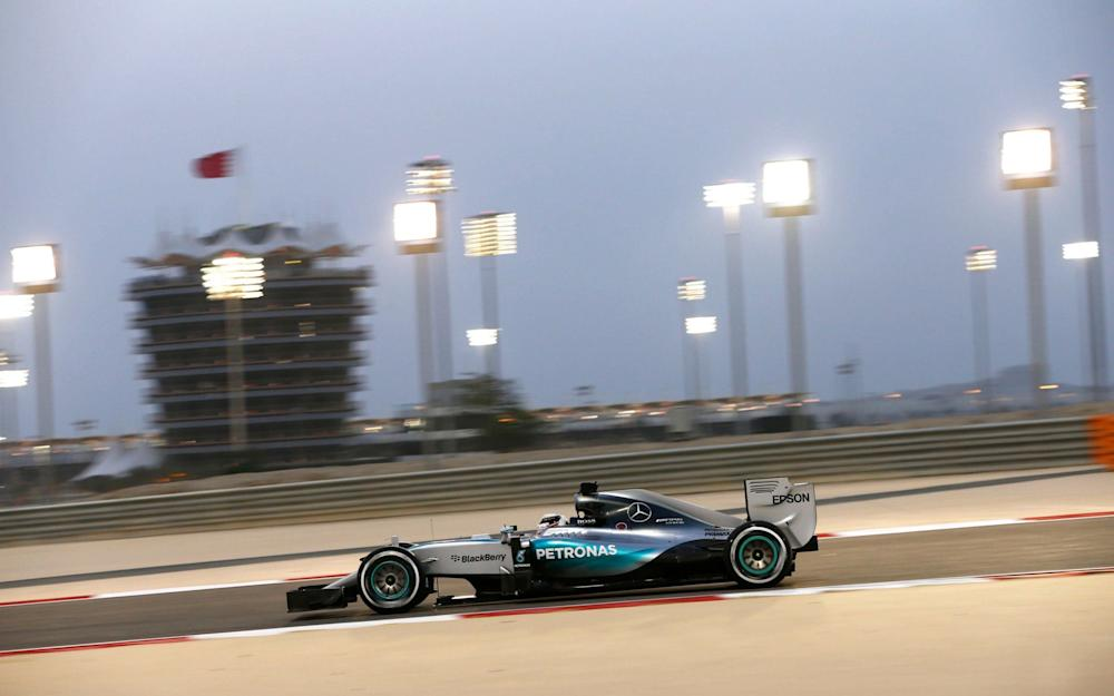Formula One - F1 - Bahrain Grand Prix 2015 - Bahrain International Circuit, Sakhir, Manama, Bahrain - 18/4/15 Lewis Hamilton of Mercedes in action Mandatory Credit: Action Images / Hoch Zwei Livepic EDITORIAL USE ONLY. *** Local Caption *** - - Credit: Hoch Zwei/Action Images