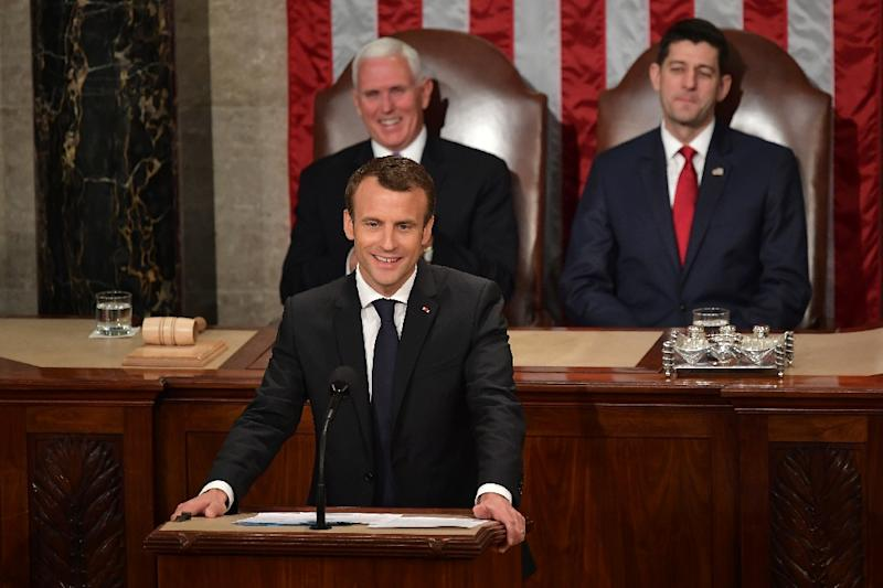 France's President Emmanuel Macron addressed a joint meeting of Congress after a two days of meetings with President Donald Trump sealed the growing bond between the two leaders