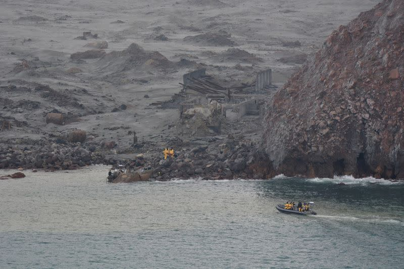Rescue crew are seen at the White Island volcano in New Zealand