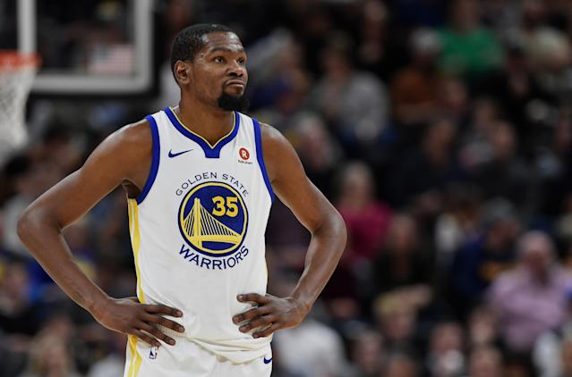 "<a class=""link rapid-noclick-resp"" href=""/nba/players/4244/"" data-ylk=""slk:Kevin Durant"">Kevin Durant</a>'s media availability was interrupted by squabbling cameramen on Thursday. (Getty)"